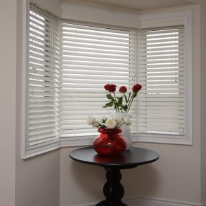 """Window with 2"""" Faux Wood Blinds Installed"""
