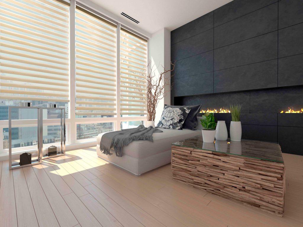Zebra Blinds In A Modern Living Room